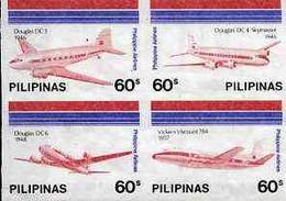 Philippines 1986 45th Airline Anniversary Imperf Se-tenant Block Of 4 X 60s On Ungummed Wmk'd Paper, As SG 1947-50 - Filippijnen