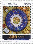 Lote 2017-7, Colombia, 2017, Sello, Stamp, 300 Años De Masoneria Universal, Mason, Freemason, Book - Colombia