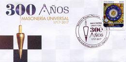Lote 2017-7F, Colombia, 2017, SPD-FDC, 300 Años De Masoneria Universal, Mason, Freemason - Colombia