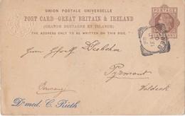 Post Card - Great Britain & Ireland / Grande Bretagne Et Irlande Sent To Pyrmont Waldeck Germany - Briefe U. Dokumente