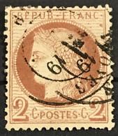 YT 51 III République 1871-75 (°) 2c Rouge Brun Cérès Grands Chiffres CàD Troyes Aube (côte 15 Euros) – Ciel - 1871-1875 Ceres