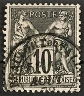 YT 89 (°) 1877-80 SAGE CaD RARE Beaufort-en-Vallée Maine-et-Loire (type II) 10c Noir Sur Lilas – B2otti - 1876-1898 Sage (Tipo II)