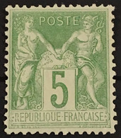 YT 102 (*) MH 1898-1900 Type Sage (III Inv Sous B) 5c Vert Jaune TTB (côte 40 Euros) – B2otti - 1898-1900 Sage (Tipo III)
