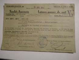 Militaria Guerre 1939 1945 Laissez Passer De Nuit Nacht Ausweis Cachet Nazi Feldkommandantur 680 Prefecture 77 - 1939-45