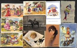 Fantaisie - Lot 50 Cartes (animée Chats Humanisés Fleurs Couple Celluloïd Aiglon...) Petit Prix - Non Classificati