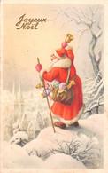 Carte Postale Fantaisie De NOËL - PERE  NOËL Dans Village Sous La Neige Avec Clochette - Santa Claus