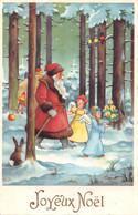 Carte Postale Fantaisie De NOËL - PERE  NOËL En Forêt Avec Anges Et Lapin - Santa Claus