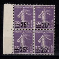 Variete - YV 218 N** Surcharge Décalée Au Sud, Bloc De 4 BdF - Varieties: 1921-30 Mint/hinged