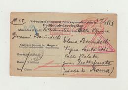 PRIGIONIERI DI GUERRA CARTOLINA FRANCHIGIA DEL 1916 - CAMPO SOMORJA - SLOVACCHIA VERSO ITALIA - WW1 - Documentos
