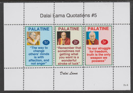 Palatine (Fantasy) Quotations By Dalai Lama #5 Perf Deluxe Glossy Sheetlet Containing 3 Values - Cinderellas