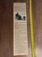 1924 SV Petit Fauteuil Roulant Doté D Un Moteur électrique Moto Roue Cyclecars - Zonder Classificatie