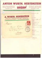 SUISSE - A. WÜRTH, HERTENSTEIN - MECHANISCHE BOOTSWERFT - JOLIE ENVELOPPE AVEC CONTENU LETTRE A EN-TÊTE - Covers & Documents