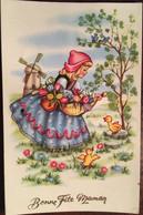 Cp, éditions Photochrom, Bonne Fête Maman,illustration, Paysage Des Pays-Bas, Moulin à Vent, Fillette  Panier De Tulipes - Día De La Madre