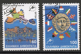 Europa CE 1988 Grèce - Griechenland - Greece Y&T N°1695A à 1696A - Michel N°1715 à 1716 (o) - Conseil De L'Europe - Idee Europee