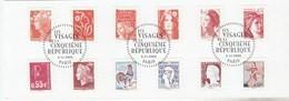 FRANCE 2008 -LES VISAGES DE LA CINQUIEME REPUBLIQUE YT 225 A 236 OU 4287 A 4298 OBLITERE 1ER JOUR SUR FRAGMENT - KlebeBriefmarken