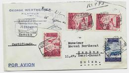 MARRUECOS MAROC ESPANA PA 90CX3+5C LETTRE COVER REC AVION TANGER ESTAFETA 26 SET 1942 TO SUISSE + CENSURADO - Spanisch-Marokko