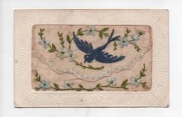 Carte  Brodée  -  Hirondelle  Et  Fleurs  Bleus - Sonstige