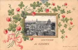 ¤¤   -  GISORS   -  Souvenir De ..........   -  Carte Gauffrée   -  Fleurs , Trèfle à 4 Feuilles   -   ¤¤ - Gisors