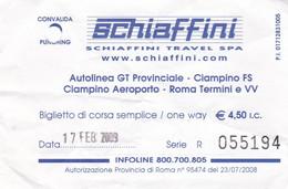 TICKET AUTOBUS SCHIAFFINI TRAVEL ROMA - Europe