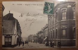 Carte Postale Lens Hôpital Et Rue De Lille 1908 - Lens