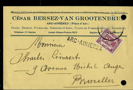 Carte De Service Ou Firme : Obl. 1938  + Griffe De ARC - AINIERES - Sello Lineal