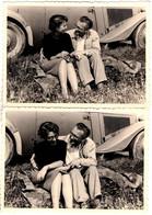 Photo Originale Couple Amoureux Romantique Sur L'Herbe Caché Derrière Sa Vieille Mercedes Benz 170 V Vs 1950/60 - Automobili