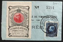"""OBP 187 Op Fragment Met Label """"Federation Des Cercles Philateliques De Belgique"""" - Exposition Nationale - 1921-1925 Piccolo Montenez"""