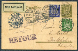 1924 Germany Sweden Berlin/Stockholm Airmail Luftpost Stationery Postcard.Hans Ueberall - Francis Field Personal Message - Briefe U. Dokumente