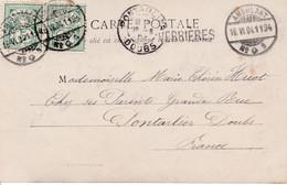 MARQUE D'ENTREE SUISSE-FRANCE - CACHET LINEAIRE « VERRIERES » (27x5mm) Rare (1904) - Marques D'entrées