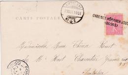 MARQUE D'ENTREE SUISSE-FRANCE - CACHET LINEAIRE « GARE DES HOPITAUX-JOUGNE (DOUBS)» (1904) - Entry Postmarks