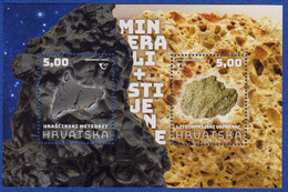 CROATIA MNH BLOCK MINERALS AND ROCKS METEORITE (HRASCINSKI METEORIT) And LIMESTONE (LITOTAMNIJSKI VAPNENAC) 2020 - Croatia