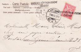 MARQUE D'ENTREE SUISSE-FRANCE - France Ferroviaire - CACHET LINEAIRE « GARE DES HOPITAUX-JOUGNE (DOUBS)» (1902) - Entry Postmarks