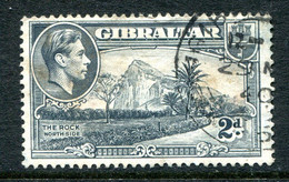 Gibraltar 1938-51 KGVI Pictorials - 2d Grey - P.13½ - Used (SG 124a) - Gibraltar