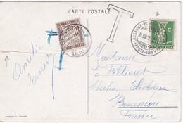 MARQUE D'ENTREE FERROVIAIRE « LAUSANNE-PONTARLIER-LAUSANNE » (1910) Sur Carte Postale - Marques D'entrées