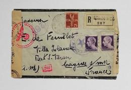 Busta Di Lettera Raccomandata Da Rezzonico Per La Francia 01/03/1944 (occupazione Tedesca) - Marcofilie (Luchtvaart)