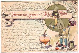 10577 Humor Ak Zwerg Mit Pinsel Und Farbe 1900 - Sátiras