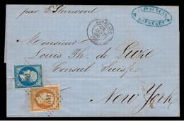 GIRONDE - LSC -Tàd T15 BORDEAUX (1860) + PC 441 Sur N° 14 + N° 16 ->New York (Etats Unis), Par Le Sherwood - 1849-1876: Klassik