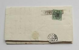 Stato Pontificio, Lettera Da Portomaggiore Per Ferrara 1858, Affrancata Con 1 Baj Verde Scuro (siglata) - Kerkelijke Staten