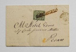 Stato Pontificio, Lettera Da Santarcangelo Per Pesaro 1857 - Estados Pontificados