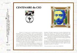 """"""" CENTENAIRE DU CIO / PIERRE DE COUBERTIN """" Sur Feuillet CEF 1er Jour Sur Soie De 1994. N° YT 2889. Part état. FDC - Other"""