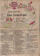 NAMUR ATTRACTIONS-fêtes Carnaval Laetare 1898-format A4 Sur Papier Genre Crépon Mais élastique - Afiches