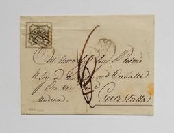 Stato Pontificio, Busta Di Lettera Da Roma Per Guastalla Via BO-RE 1861 Affrancata Con 8 Baj - Estados Pontificados