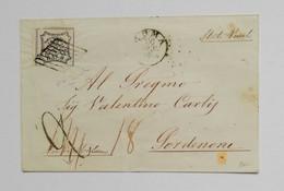 Stato Pontificio, Busta Di Lettera Da Roma Per Pordenone (Stato Veneto) 1856 Affrancata Con 8 Baj (siglata) - Estados Pontificados