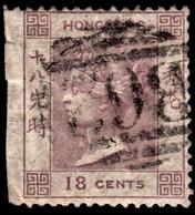 Hong Kong 1862 SG4 18c Lilac No Wmk P14  B62 Cancel Wing Margin Trimmed Off - Gebruikt