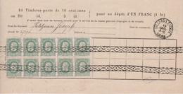 N° 30 (10x) Bulletin Caisse D' Epargne Délivré à Villers-L'Evêque  15 Janv. 1884 - 1869-1883 Leopold II