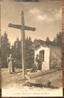 VAL DE BÂGNES: 1915 - PAYSANNES DEVANT L'ORATOIRE A LA PIERRE-A-VOIR... SUPERBE - VS Valais