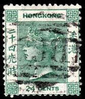 Hong Kong 1864 SG14 24c Green Wmk CrownCC P14  B62 Cancel - Usados