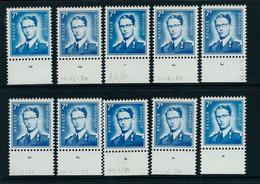 N°1575 Planche 1 (1x) - 2 (2x ) - 3 (4x ) - 4 ( 3 X) Soit 10 Timbres (**) - 1953-1972 Lunettes