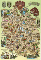 Carte Gastronomique Du GEVAUDAN. Fromage, Cèpes, Truites, Blason. CPM Géographique - TBE - Ricette Di Cucina