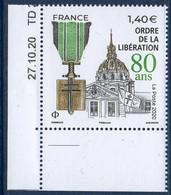 5458 Ordre De La Libération - 80 Ans Coin Daté (2020) Neuf** - Neufs